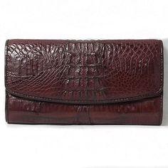 Womens Handmade Crocodile/Alligator Tail Skin Leather Clutch Wallet in Brown
