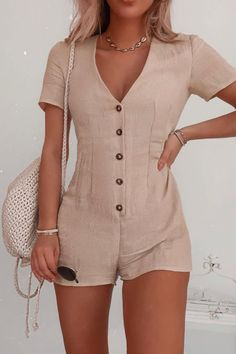 Order the Fashion Influx Stone Button Down Short Sleeved Playsuit from In The Style. Pretty Outfits, Cool Outfits, Casual Outfits, Fashion Outfits, Indie Fashion, Hipster Fashion, Grunge Fashion, Asian Fashion, Modest Fashion
