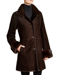 Maximilian Shearling Coat with Mink Collar & Cuffs