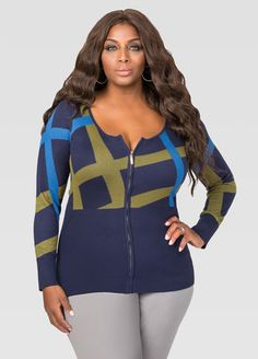 Plaid Basic Zip Cardigan