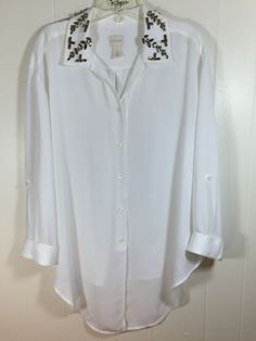Chicos 2 M L White Tunic Top Embellished Beaded Roll Sleeve Button Blouse 12 14