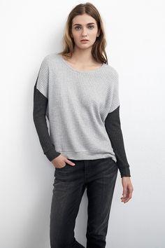 NOELY WAFFLE KNIT COLORBLOCK DOLMAN TOP - Luxe Loungewear - The Latest - Women