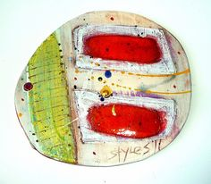 Linda Styles - Medium tile with 2 orange oblongs on organic dry white with yellow/green jazz stripe 16cmswx14.5cmsd