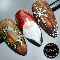 Christmas Gel Nails, Xmas Nail Art, Christmas Nail Art Designs, Winter Nail Designs, Holiday Nails, Claire's Nails, Les Nails, Beautiful Nail Designs, Cool Nail Designs
