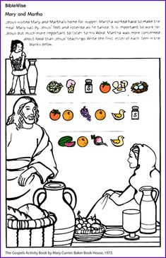 Mary and Martha - Kids Korner - BibleWise Church Activities, Bible Activities, Bible Story Crafts, Bible Stories, School Lessons, Lessons For Kids, Rhyming Worksheet, Worksheets, Bible Coloring Pages