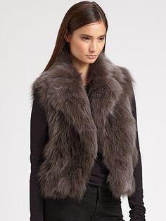 Diane von Furstenberg Gami Cropped Fox Fur Vest