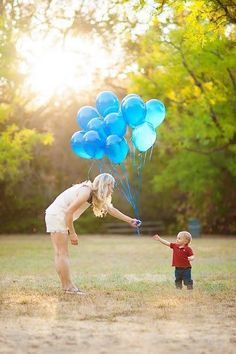 So cute! Balloon gifts for mommy on Mother's Day. Perfect shot for a Mother's Day shoot.
