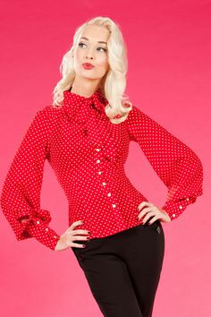 Miss Candyfloss - 30s Marlene Blouse in Red polka dot Bow