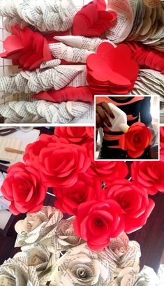 Creating Paper Roses for a custom wedding bouquet order