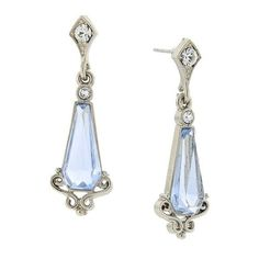 Downton Abbey Silver Tone Crystal and Light Sapphire Blue Stone Earrings
