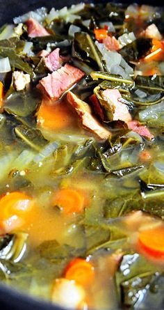 Pot Likker Soup ~ A delicious and filling meal.... Made of pot likker (or pot liquor), the cooking liquid from collards or turnip greens, along with other vegetables and ham - This soup is Southern comfort all the way!
