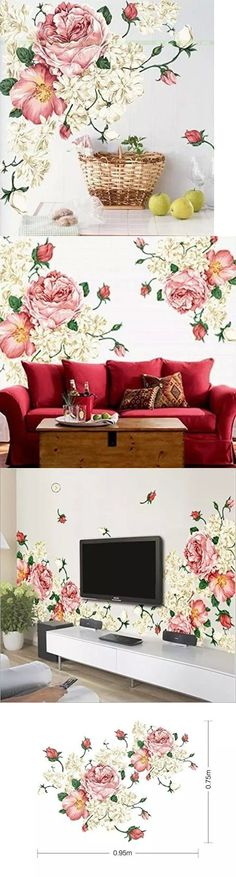 household items: 2 Pcs Peony Flowers Mural Art Wall Decals Removable Vinyl Diy Sticker Home Decor -> BUY IT NOW ONLY: $50.71 on eBay!
