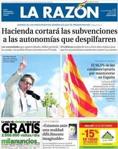 Los Titulares y Portadas de Noticias Destacadas Españolas del 30 de Septiembre de 2013 del Diario La Razón ¿Que le pareció esta Portada de este Diario Español?