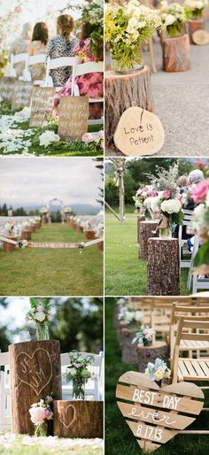 Country rustic wedding aisle ideas decorated with wooden signs.