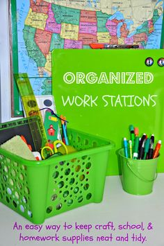 Help get organized for back to school with these awesome DIY Homework Stations. Elizabeth from A Cup, A Cup shows us how!!