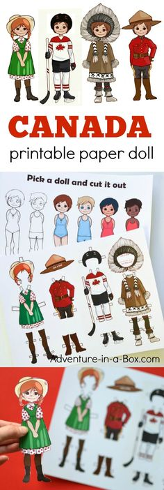 Get an introduction to Canadian culture for kids with these printable Canadian paper dolls! Four Canadian costumes include Anne of Green Gables, a hockey player, an Inuit and a Mountie.