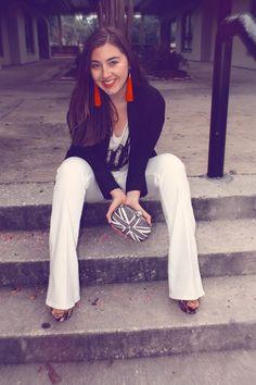 McQueen clutch, Elizabeth & James flared white jeans, red fringe earrings : Virginia a la Mode