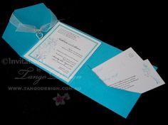 Bright blue wedding pocket by www.tangodesign.com.au #pocketfoldblue #pocketfoldaqua #pocketaquainvitation  #aquaweddinginvitations