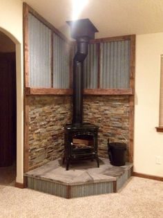 Excellent Pics corner Wood Stove Strategies Whilst wooden is considered the most eco-friendly heating method, the item certainly not appears to be talked . Wood, Rustic House, New Homes, Wood Heat, Corner Wood Stove, Wood Burning Stove Corner, Stove Fireplace, Fireplace, Fireplace Hearth