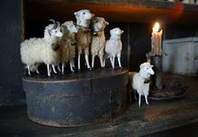 Old & Prim Blue Pantry Box...with German putz sheep & lighted taper.