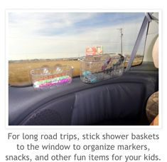 PURE GENIUS! Keep the car organized on road trips with easy to reach holders for kids! Super smart and cheap!