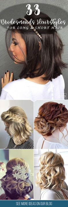 33 Hottest Bridesmaids Hairstyles For Short or Long Hair ❤ Thinking about bridesmaids wedding hairstyles for your big day? See more http://www.weddingforward.com/hottest-bridesmaids-hairstyles-ideas/  #wedding #hairstyles