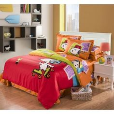 Red Orange Musical Snoopy Cotton Duvet Cover Bedding