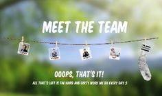 Prezi Template for introducing the members of your team.  Polaroid pictures hanging on a rope with clothespins on a 3D nature background.  Insert your own pictures inside the polaroids and add texts.  Duplicate the elements to create more placeholders and create a unique layout