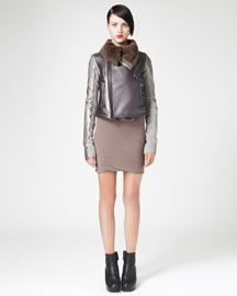 Rick Owens Metallic Shearling Aviator Jacket & Double-Layer Dress