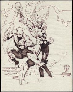 Deredevil / Thor Sketch Comic Art by Frank Miller Comic Book Artists, Comic Book Characters, Comic Artist, Comic Books Art, Comic Character, Jim Lee, Frank Miller Art, Superhero Sketches, Daredevil Art