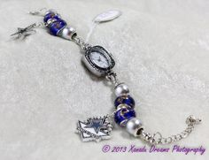 Dallas Cowboys Blue Silver Star Football Beaded Murano Glass European Style Charm Bracelet Watch by Xanadu Dreams Jewelry-CUSTOMIZE IT...