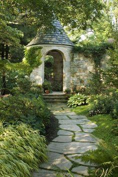 Shaded winding flat stone pathway to stone turret - idyllic! Wadia-associates-architecture-landscape-architectural-details