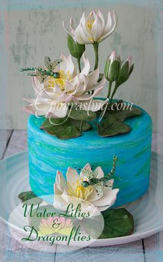 {Gumpaste Water Lilies and Dragonflies on a Painted Cake}