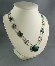 Antique Chinese Export Silver Jewellery Necklace Malachite Signed C.H.C. Asian   #Chinese