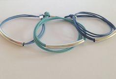 Tubi Armband, Echtleder, Versilbert oder vergoldet, Farbwahl - KUNSTetKREMPEL