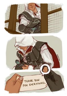 It has been a while since I have played assassins creed two. But I do not remember if he ever thanked Ezio. Assassins Creed Funny, Assassins Creed Series, Assassin's Creed Brotherhood, All Assassin's Creed, Video Game Characters, Skyrim, Memes, Videos, Video Games