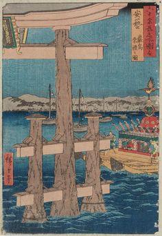 "Aki Province -Itsukushima Depiction of a Festival (Aki -Itsukushima Sairei no zu), from the series ""Famous Places in the Sixty-odd Provinces [of Japan] (Rokujûyoshû meisho zue)"" / Hiroshige (Japanese Ukiyo-e Printmaker, ca.1797 -1858)"