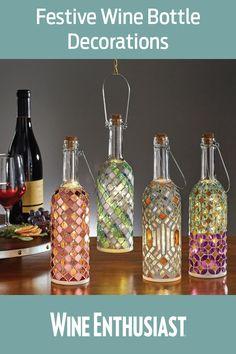 Wine Bottle Lanterns, Glass Bottle Crafts, Wine Bottle Art, Diy Bottle, Liquor Bottles, Bottles And Jars, Glass Bottles, Mosaic Bottles, Lantern Set