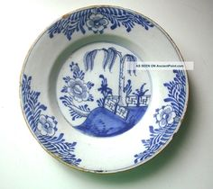 Mid - 18th Century English Delftware Tin - Glazed Plate C. 1750