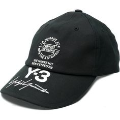 y3 Skater Printed Logo Hat ($100) ❤ liked on Polyvore featuring  accessories, hats