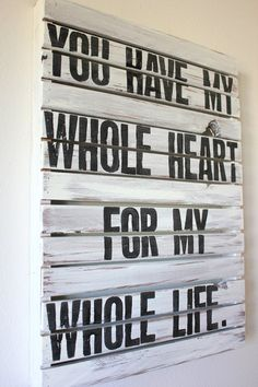 My Whole Heart White Rustic Pallet Wood Sign by HarborCove on Etsy
