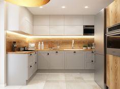 Beige Kitchen, Grey Kitchens, Kitchen Room Design, Kitchen Interior, Küchen Design, Interior Design, Flat Ideas, Plant Decor, Kitchen Remodel