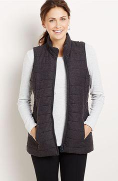 fireside brushed-flannel puffer vest