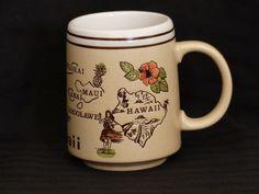 Vtg 70s Hawaiian Mug, Embossed Hula Girl, Islands, King Kamehameha- Japan Made