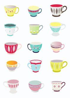 Teacups Art Print Retro Kitchen Decor by lauraamiss on Etsy