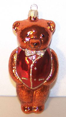 TEDDY BEAR Ornament GERMANY Hand Blown Christmas in July #eBay