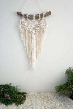 Large Macrame Wall Hanging - Fringe on Australian Pine branch available in Etsy MyLittleHabitatStore