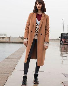 Pull&Bear - γυναικεία - ενδύματα - παλτό και μπουφάν - μακρύ παλτό σε ανδρικό στυλ με διπλό κουμπί - καμηλο - 09750318-I2016