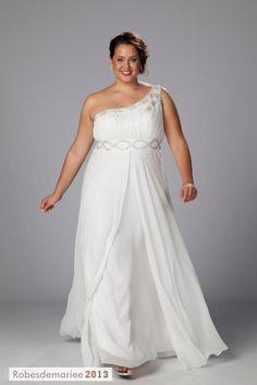 Floor-Length fantastique One-Shoulder Empire perles Taille Plus robe de mariée