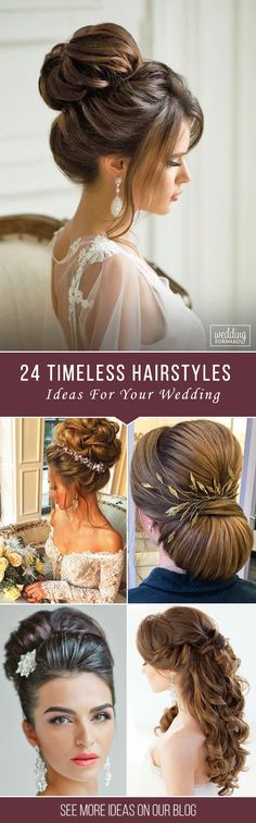 24 Timeless Bridal Hairstyles ❤ If you're still looking for a great hairstyle for your wedding, take a moment to consider these wonderfully simple and elegant styles. See more: http://www.weddingforward.com/timeless-bridal-hairstyles/